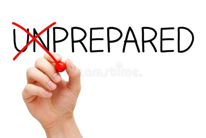 Förberett inte Unprepared arkivbilder