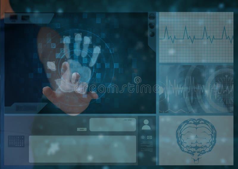 räcka scane med ting om människokroppen på en skärm stock illustrationer