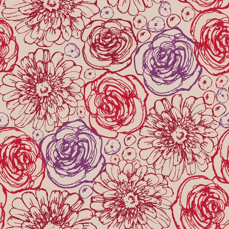 Räcka seamless utdragna blommor mönstrar vektor illustrationer