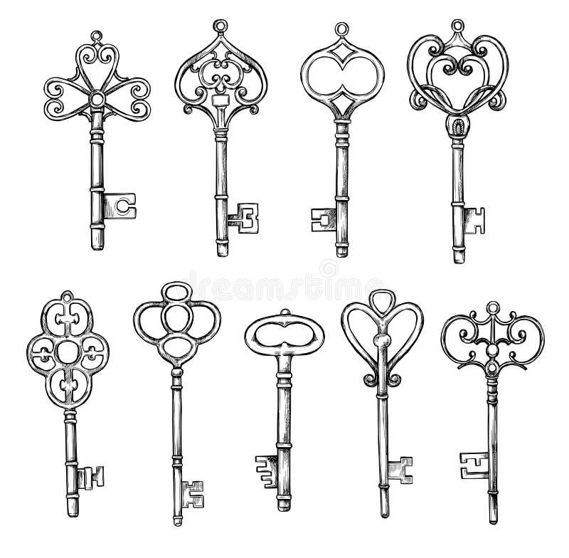 Räcka skissade vektorillustrationer - samlingar av tappningtangenter royaltyfri illustrationer