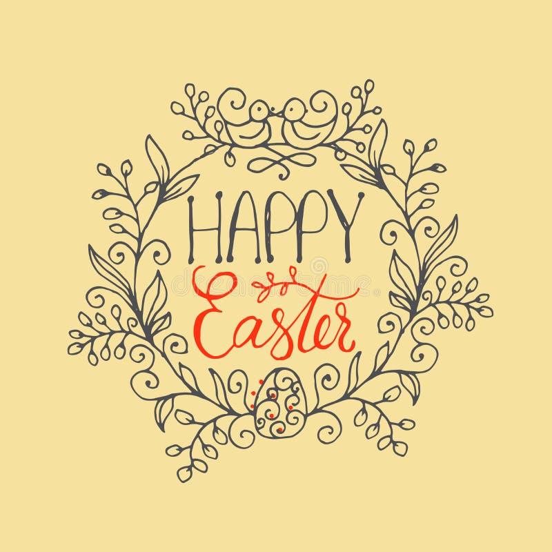 Räcka skriftlig bokstäver den lyckliga påskkransen med två fåglar och ägg Mall för text för hälsningkort stock illustrationer