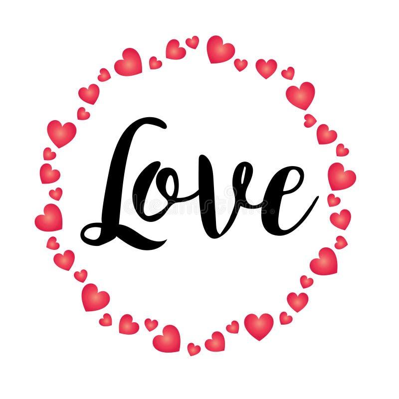 Räcka skriftlig förälskelse med ramen för valentinhjärtacirkeln royaltyfri illustrationer