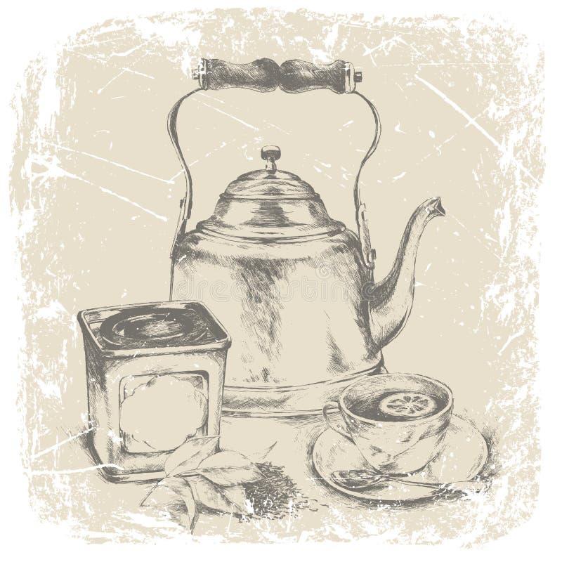 Räcka teckningen av asken av te, kopp te, teblad, citron också vektor för coreldrawillustration stock illustrationer
