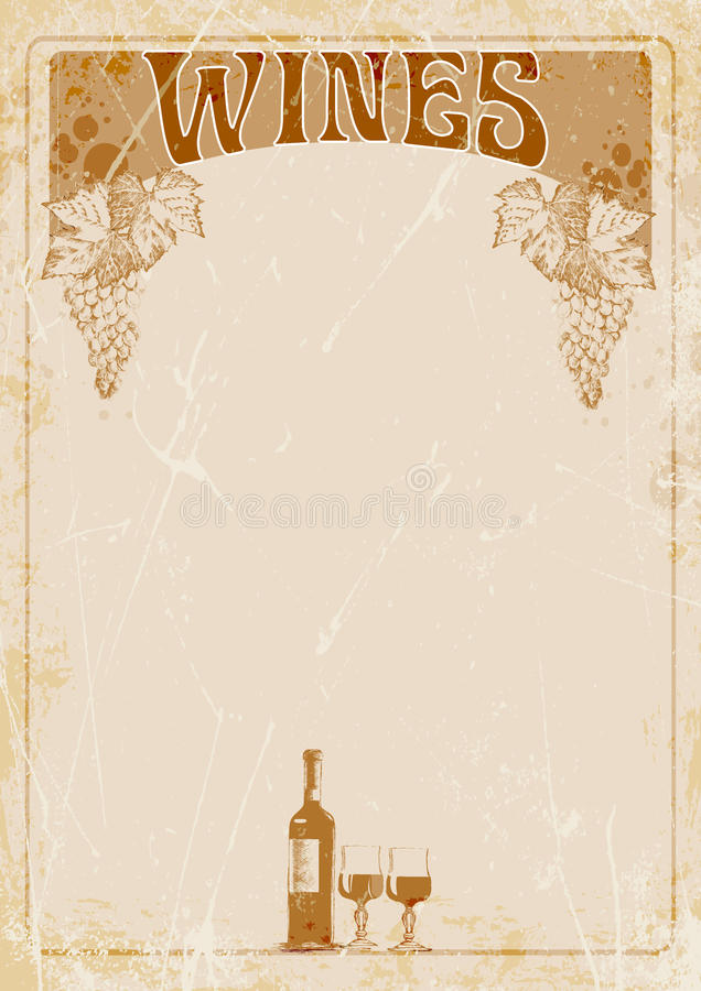 Räcka teckningen av banret för vinlistan, flaskan av vin, två exponeringsglas och stället för din text illustration royaltyfri illustrationer