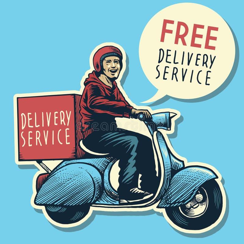 Räcka teckningen av hemsändningmannen som rider en sparkcykel royaltyfri illustrationer