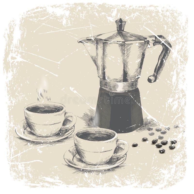 Räcka teckningen av kaffebryggaren och två koppar kaffe med grungeramen illustration vektor illustrationer