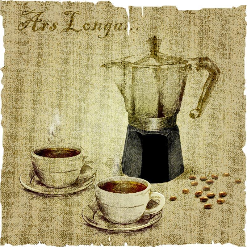 Räcka teckningen av kaffebryggaren och två koppar kaffe på kanfasen illustration royaltyfri illustrationer