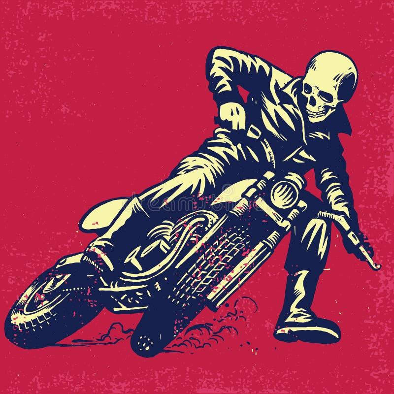 Räcka teckningen av skallen som rider en tappningmotorcykel stock illustrationer