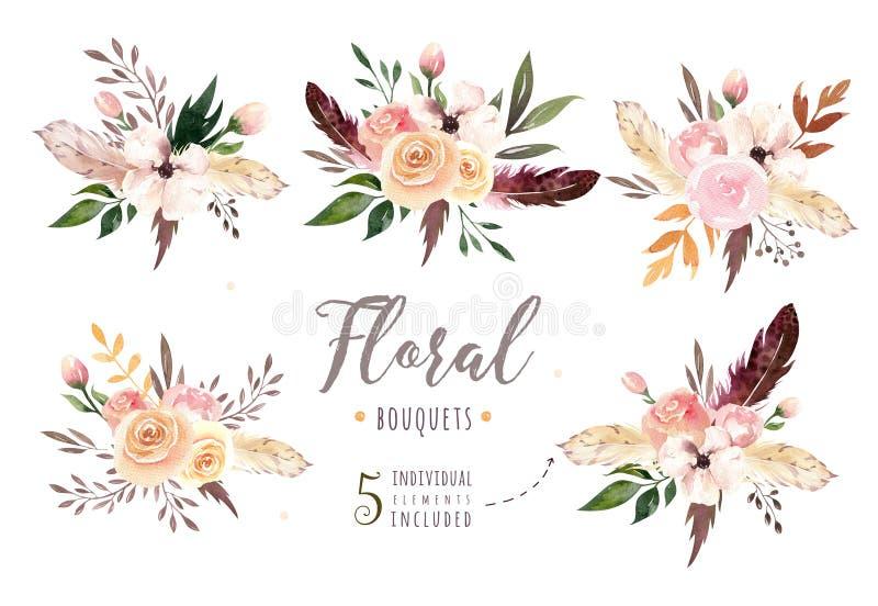 Räcka teckningen isolerade bohovattenfärgen den blom- illustrationen med sidor, filialer, blommor Bohemisk grönskakonst in royaltyfria foton