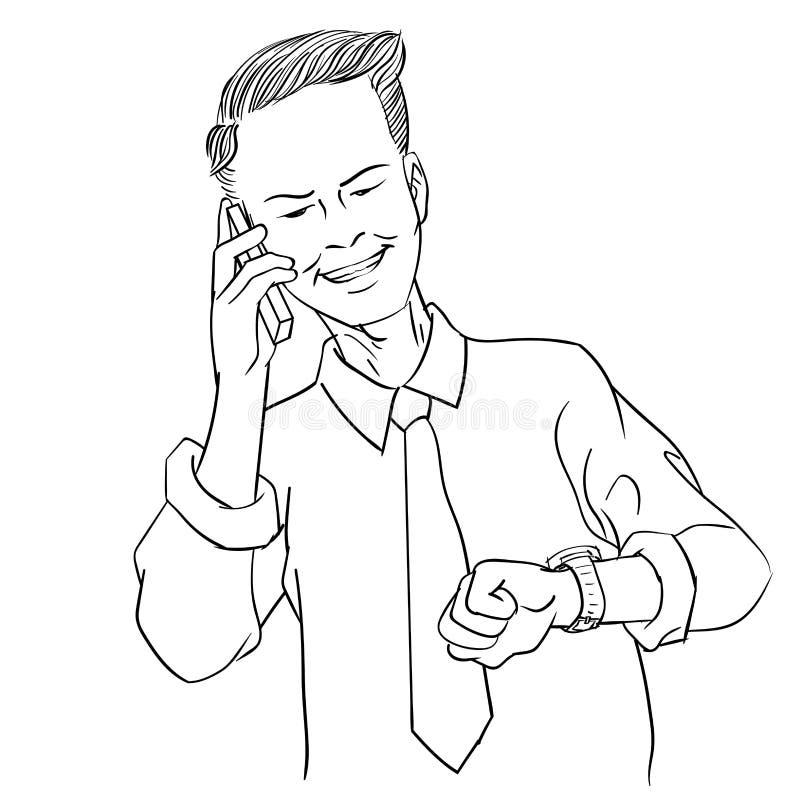 Räcka teckningsaffärsmän som kallar, se tidslinjevektorillustrationen stock illustrationer