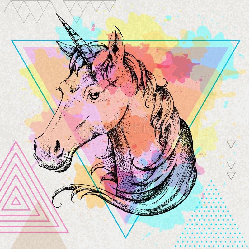 Räcka teckningsHipsterfantasin den djura enhörningen på konstnärlig polygonvattenfärgbakgrund royaltyfri illustrationer