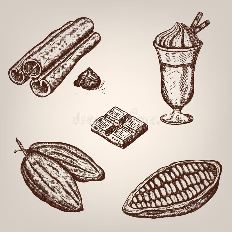 Räcka teckningsillustrationen av kakaobönor, choklad, kopp av varm choklad, kanel stock illustrationer