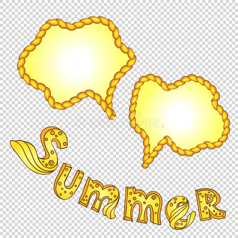 Räcka utdragen bokstäversommar och 2 sommarstättaramar från repet royaltyfri illustrationer