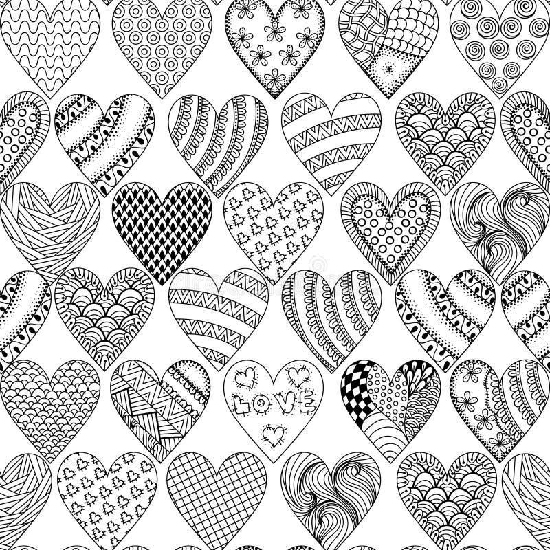 Räcka utdragen dekorativ hjärta med förälskelse i klottret, zentangletriba royaltyfri illustrationer