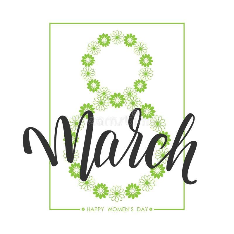 Räcka utdragen hälsningsammansättning av den lyckliga dagen för kvinna` s 8 handskriven kalligrafi för mars greeting lyckligt nyt stock illustrationer