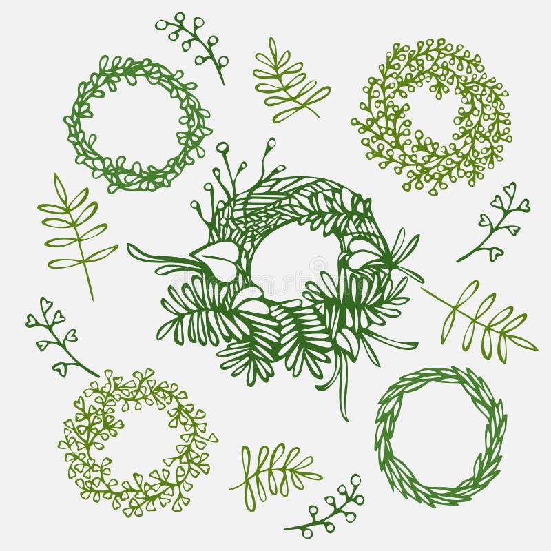 Räcka utdragen illustrationtappning den dekorativa älskvärda uppsättningen av den grekiska forntida kransen för det lager-, band- stock illustrationer