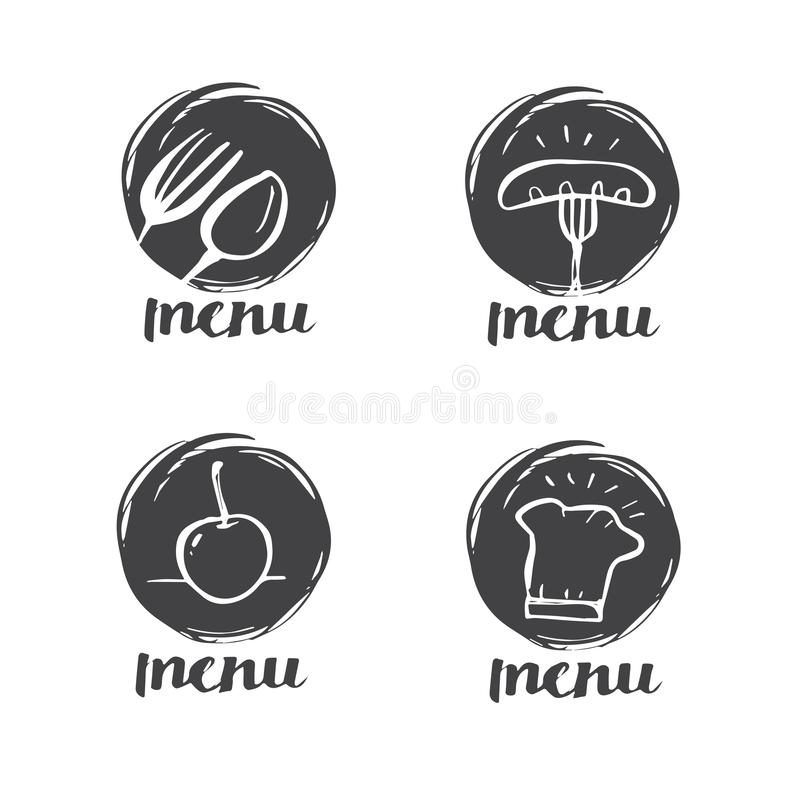 Räcka utdragen kalligrafimatlagning, kokkonstlogoen, symbolen och etiketten royaltyfri illustrationer