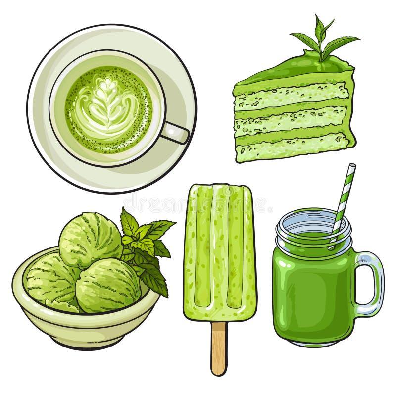 Räcka utdragen mat med matchate - glass, bakar ihop, drinkar stock illustrationer