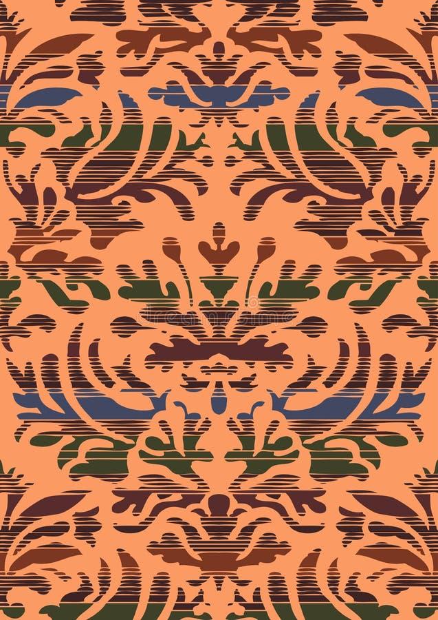 Räcka utdragen sömlös stiliserad lövverk gjord randig damast bakgrund vektor illustrationer