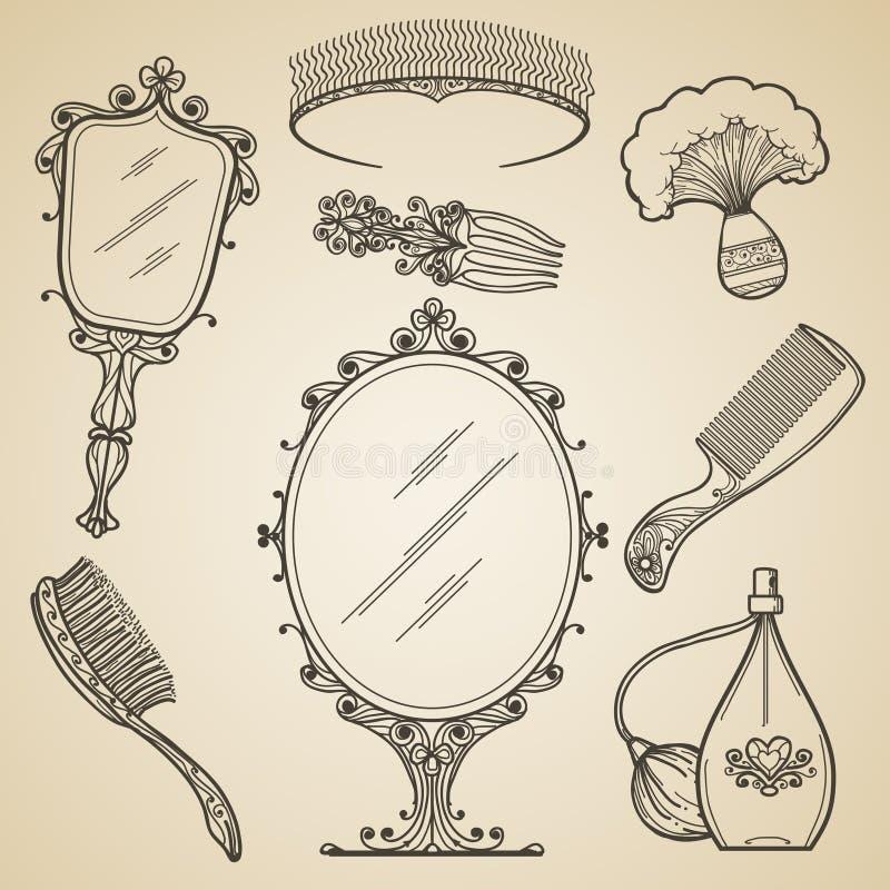 Räcka utdragen tappningskönhet och retro makeupobjekt royaltyfri illustrationer