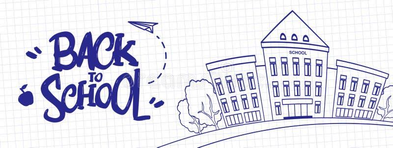 Räcka utdragen typografisk bokstäver av tillbaka till skolan med skolabyggnad på arket av skrivbokbakgrund royaltyfri illustrationer
