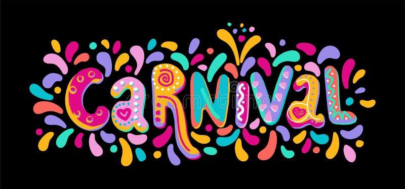 Räcka utdragen vektorkarnevalbokstäver med exponeringar av fyrverkerit, färgrik konfetti Festlig titel, rubrikbaner royaltyfri illustrationer