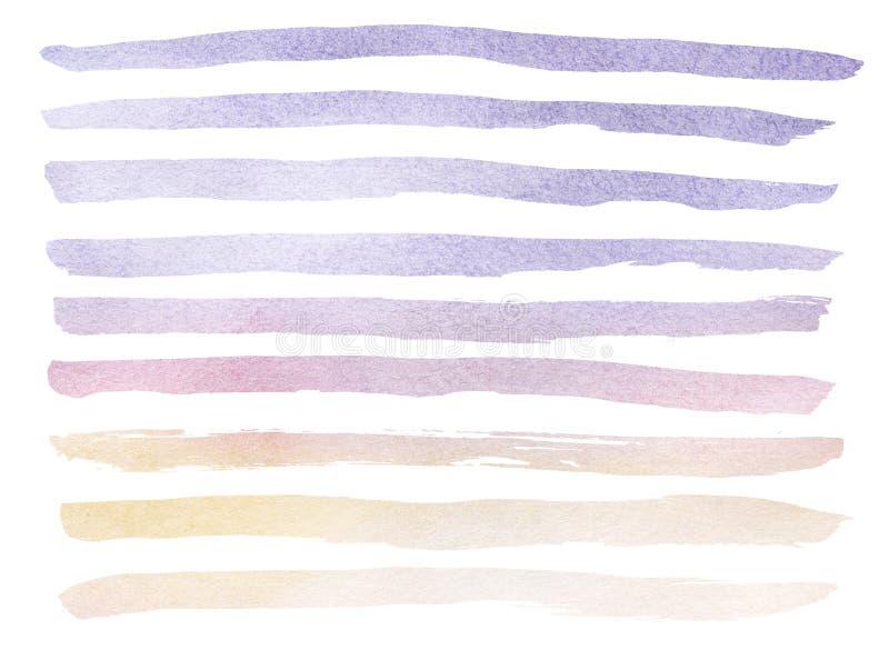 Räcka utdragen verklig vattenfärgbakgrund av blå och violett himmel med vita stackmolnmoln stock illustrationer