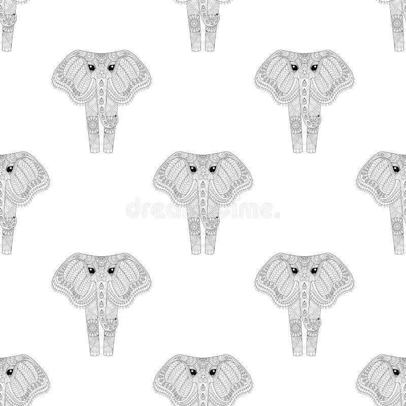 Räcka utdragen zentangle den dekorativa elefanten den sömlösa modellen för annons stock illustrationer