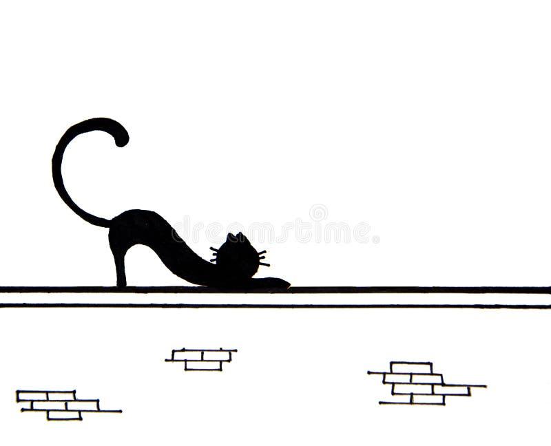 Räcka utdraget av den gulliga svarta katten på väggen med stället för text vektor illustrationer