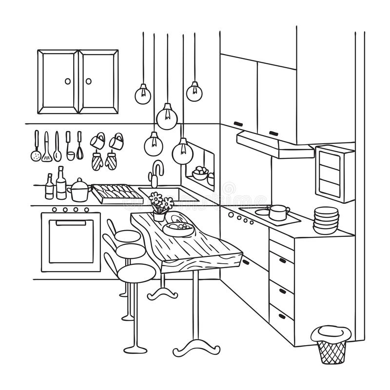 Räcka utdraget av gulligt inre kök för designbeståndsdel och sida för färgläggningbok också vektor för coreldrawillustration royaltyfri illustrationer
