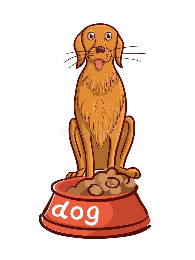Räcka utdraget av hunden med bunken och bokstäver stock illustrationer