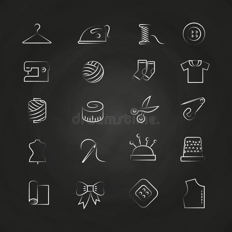 Räcka utdraget linjärt tyg, sömnaden, skräddaren, handarbetesymboler vektor illustrationer