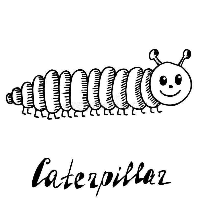 Räcka utdraget, skissa, tecknad filmillustrationen av larven royaltyfri illustrationer