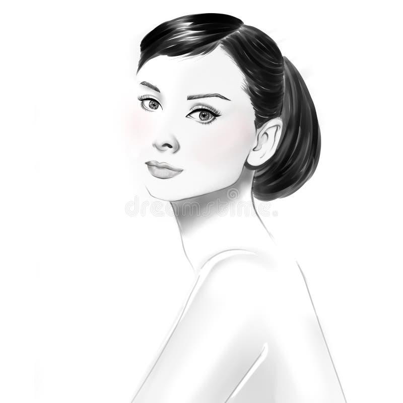 Räcka utdraget svartvitt skissar av skoaskar och kvinnaben royaltyfri illustrationer