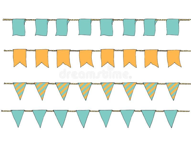 Räcka utdragna färgrika klotterbuntingbaner för garnering Klotterbaneruppsättningen, bunting flaggor, gräns skissar dekorativa el vektor illustrationer