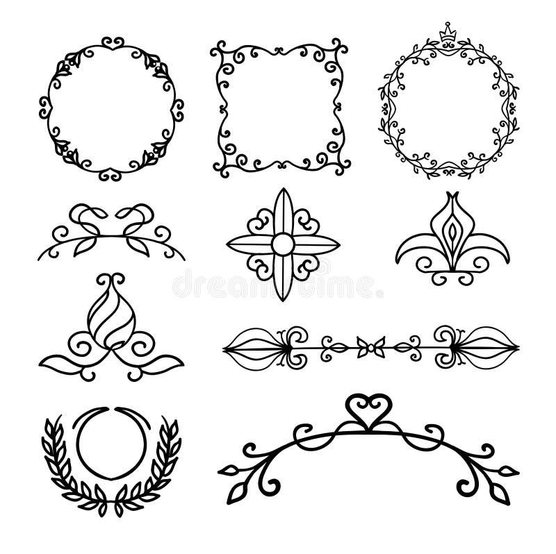 Räcka utdragna garneringbeståndsdelar, ramar, sidaavdelaren och gränsvektorillustrationen stock illustrationer