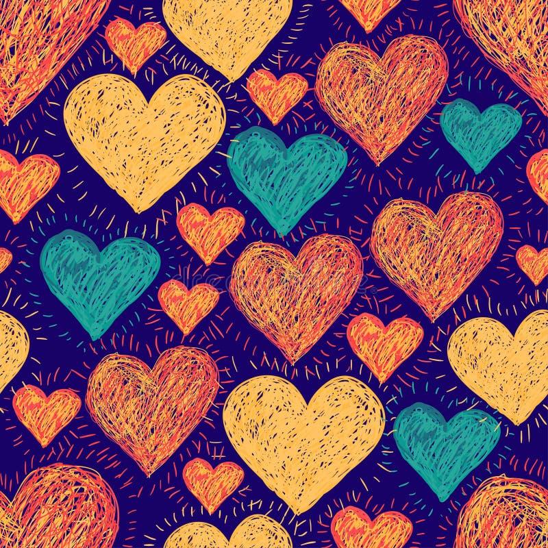 Räcka utdragna hjärtor royaltyfri illustrationer
