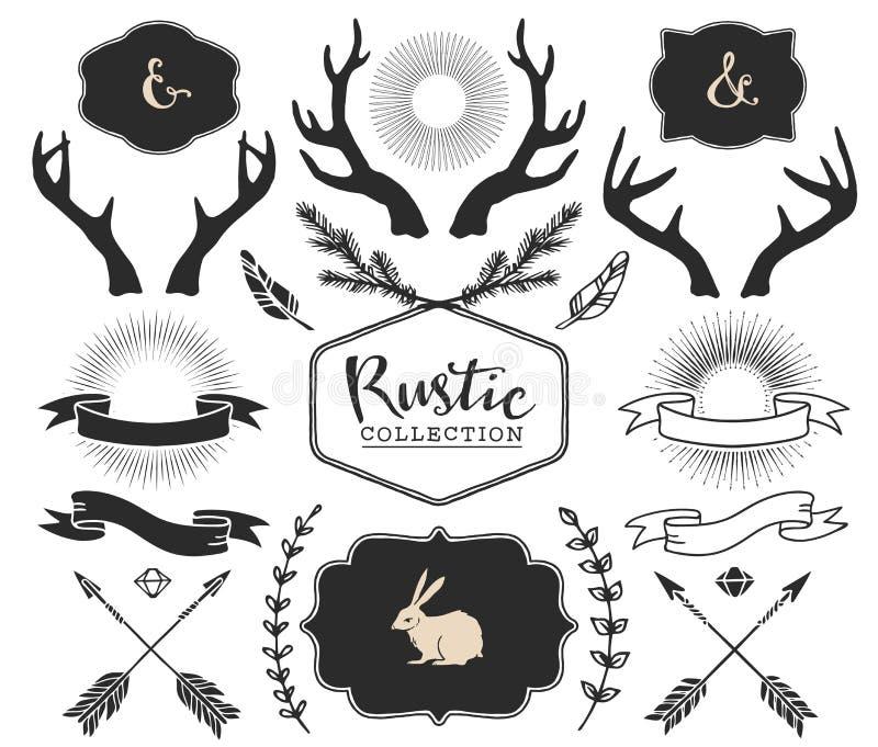 Räcka utdragna horn på kronhjort, bristningar, pilar, band och ramar royaltyfri illustrationer