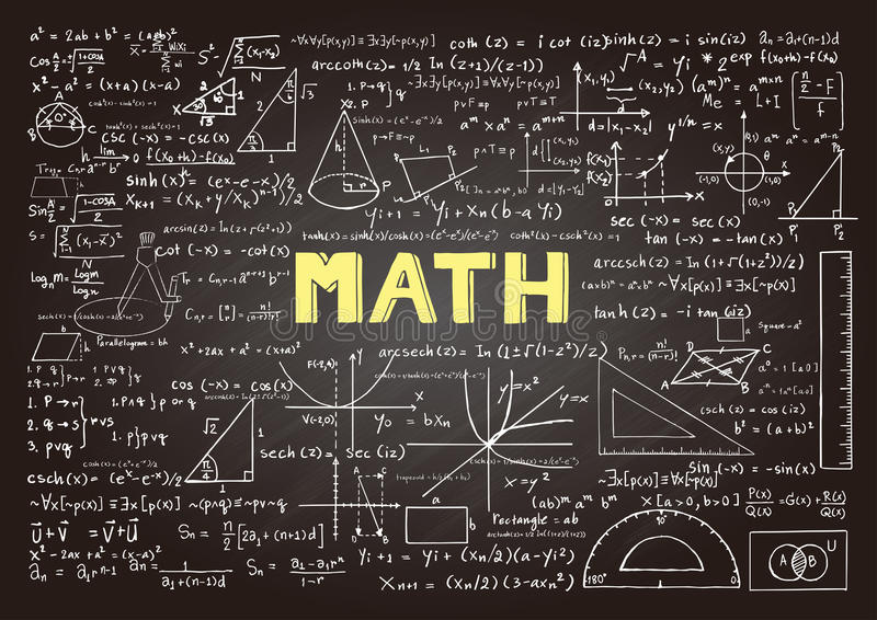 Räcka utdragna matematikformler på den svart tavlan för bakgrund, baner, bokomslag och etc. för utbildningsbransch vektor illustrationer