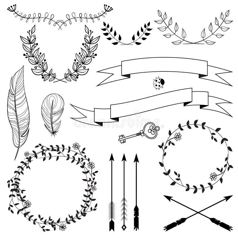 Räcka utdragna pilar, band, kransar, ris med sidor, tangenten och fjädrar Blom- dekorativ vektordesignuppsättning vektor illustrationer