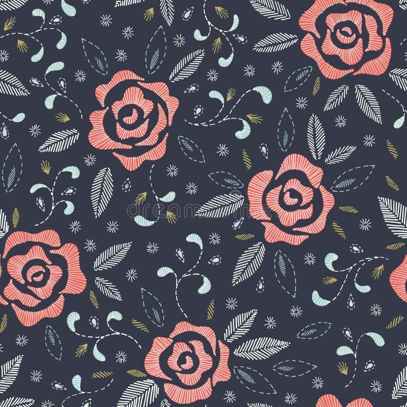 Räcka utdragna rosor som efterapar Folk broderihäftklammer, på mörker - sömlös modell för blå vektor för bakgrund blom- royaltyfri illustrationer