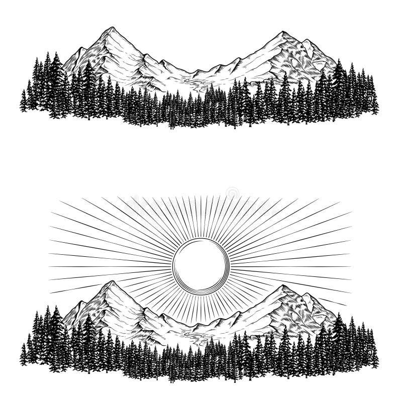 Räcka utdragna vektorillustrationer bergen med en barrskog på dem och solen stock illustrationer
