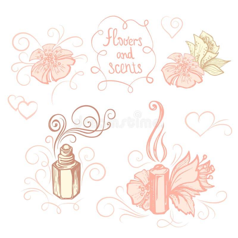 Räcka utdragna vektorillustrationer - doftflaskan och blommor den lätta designen redigerar element till vektorn stock illustrationer