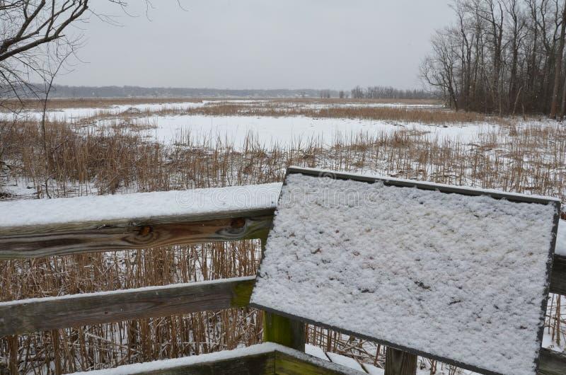 Räcke- och informationsplatta om trä som täckas i snö längs Potomacet River royaltyfria foton