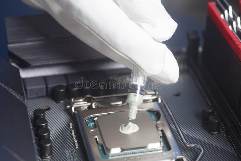Räcker bärande vita handskar med injektionssprutan som applicerar termisk deg på CPU-processorn på moderkortet arkivfoton