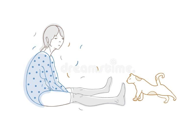 Räcker den iklädda prickiga bodysuiten för den härliga flickan och strumpor och katten utdraget med konturlinjer på vit bakgrund stock illustrationer