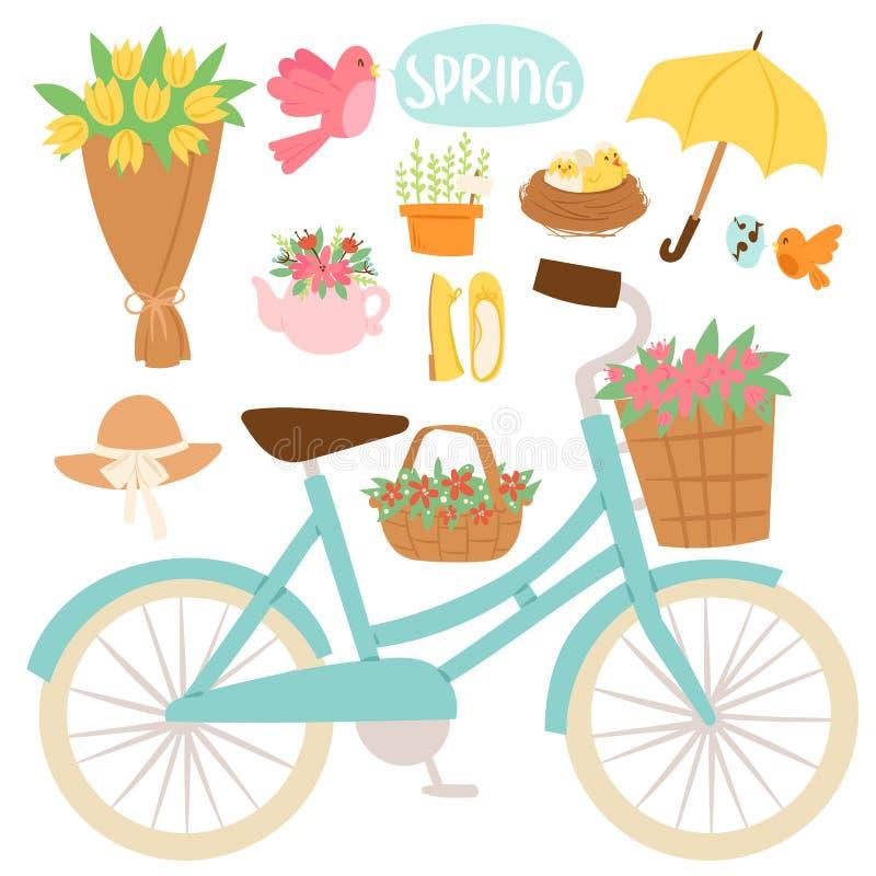 Räcker den naturliga blom- blomningen för våren som arbeta i trädgården hjälpmedelskönhetdesign, och vår för filial för naturgräs vektor illustrationer