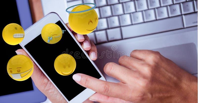 Räcker genom att använda mobiltelefonen medan emojis som kommer ut ur den vektor illustrationer