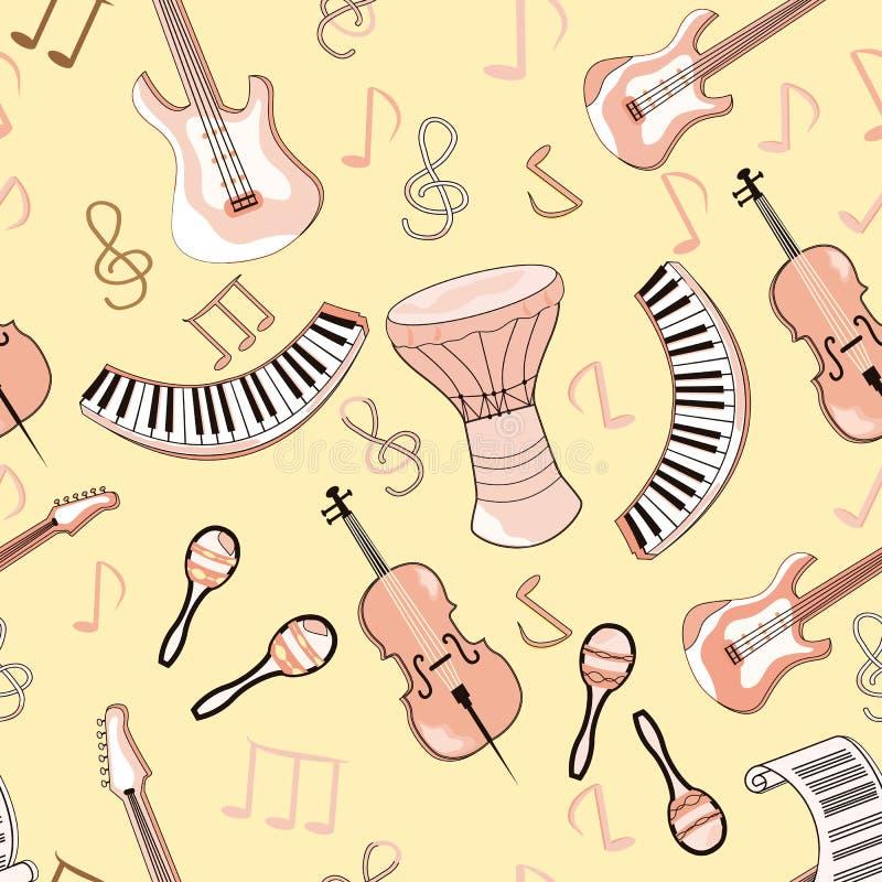 Räcker gulliga klotter för tecknad film den utdragna musikaliska sömlösa modellen Ändlös rolig vektorillustration Bakgrund med mu royaltyfri illustrationer