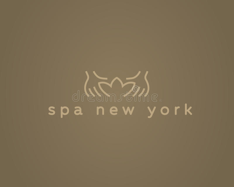 Räcker logotypen för vektorn för lotusblommabrunnsortsemesterorten Idérik design för logo för skönhetmassagesalong stock illustrationer